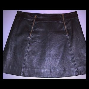 JCrew Collection Black Mini Genuine Leather Skirt